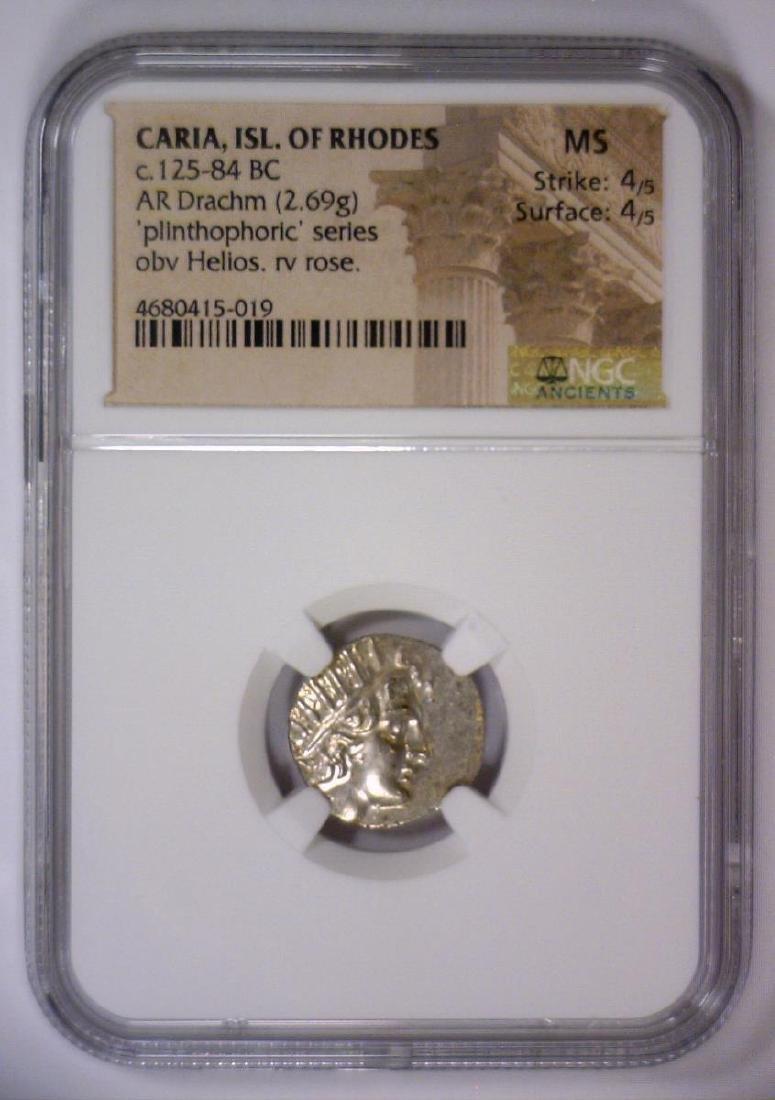 Caria ISL. OF RHODES 125 BC AR Drachm NGC MS