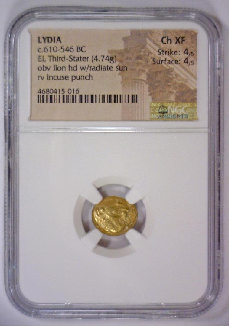 Lion Head LYDIA 610 BC Gold EL Third Stater NGC XF
