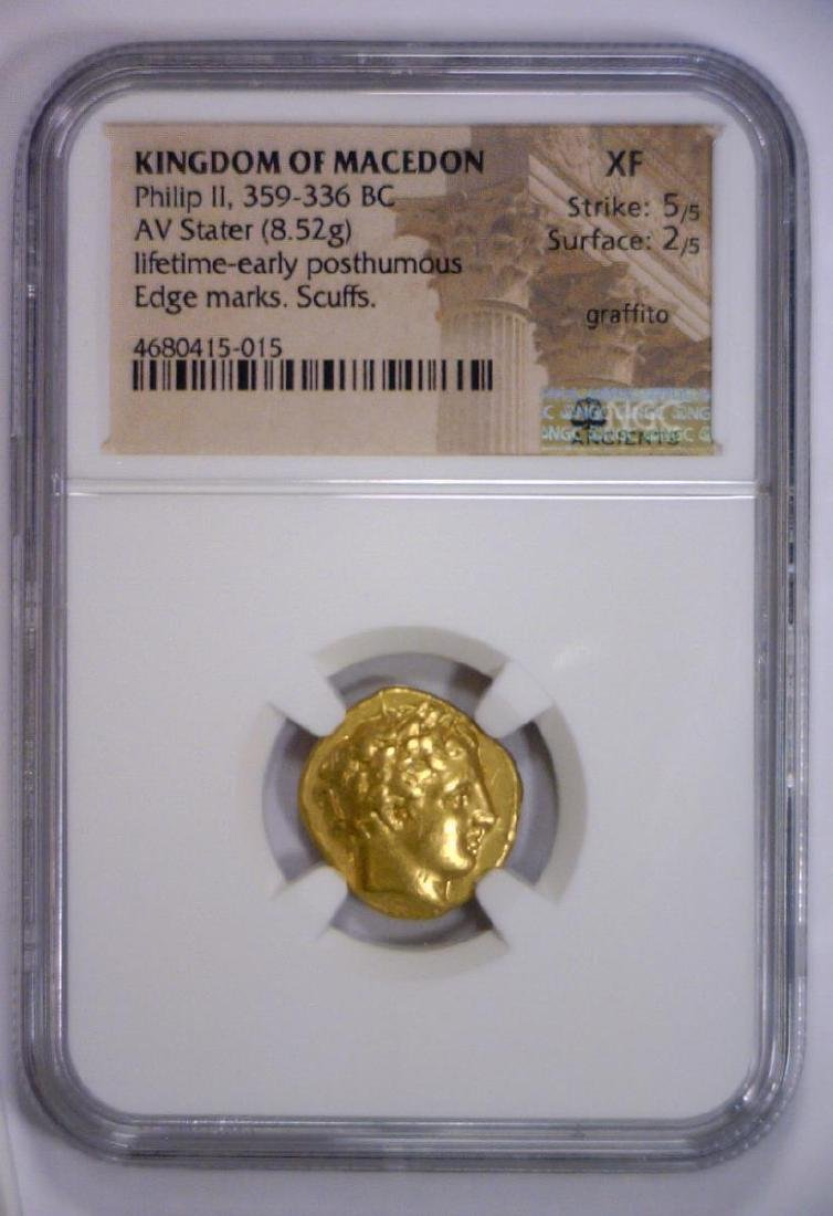Philip II MACEDON 359 BC Gold AV Stater NGC XF