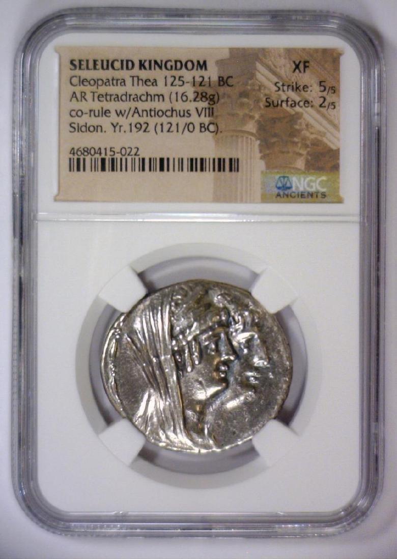 Cleopatra SELEUCID 125 BC AR Tetradrachm NGC XF