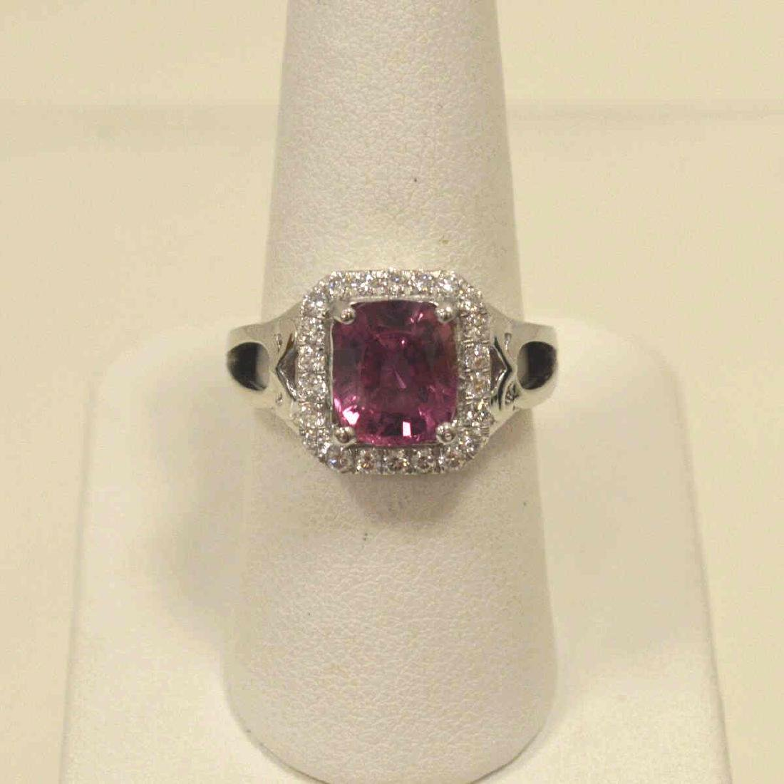 Platinum unheated pink sapphire and diamond ring