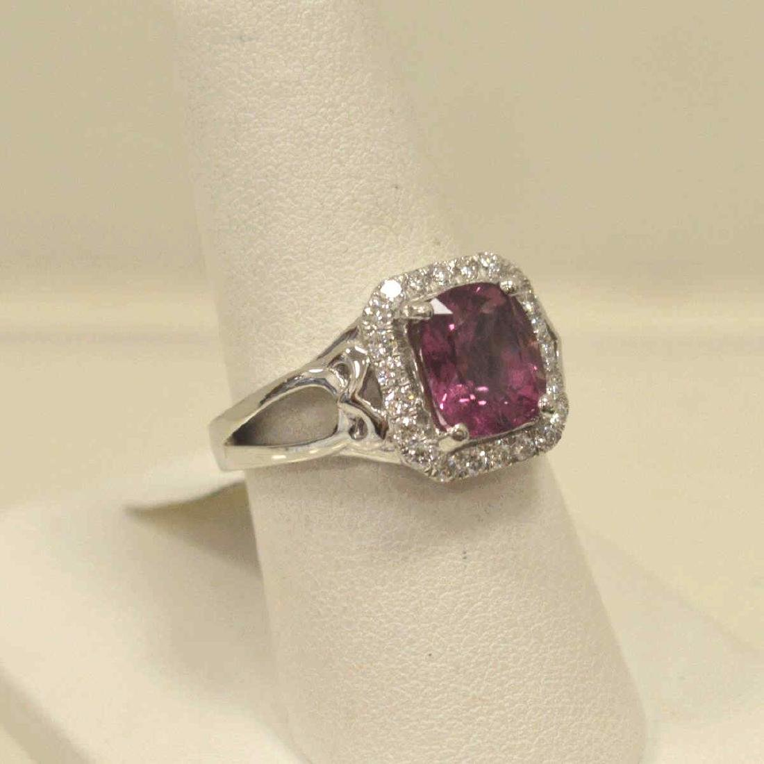 Platinum unheated pink sapphire and diamond ring - 2