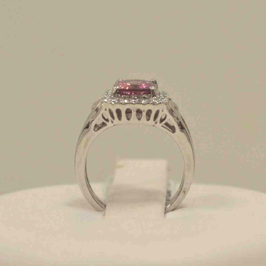 Platinum unheated pink sapphire and diamond ring - 3