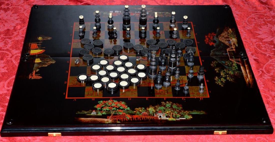 Vietnam Black Lacquered Chess/Backgammon Set