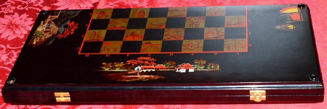 Vietnam Black Lacquered Chess/Backgammon Set - 2