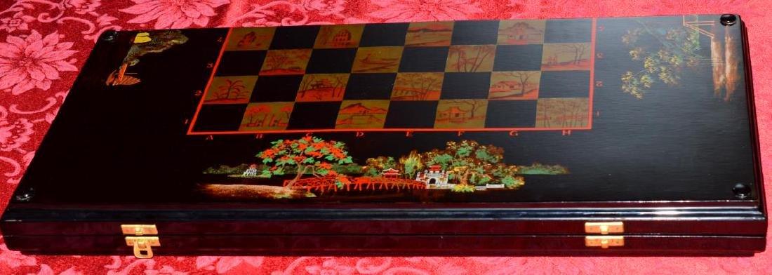 Vietnam Black Lacquered Chess/Backgammon Set - 3