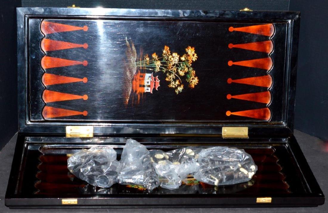 Vietnam Black Lacquered Chess/Backgammon Set - 4