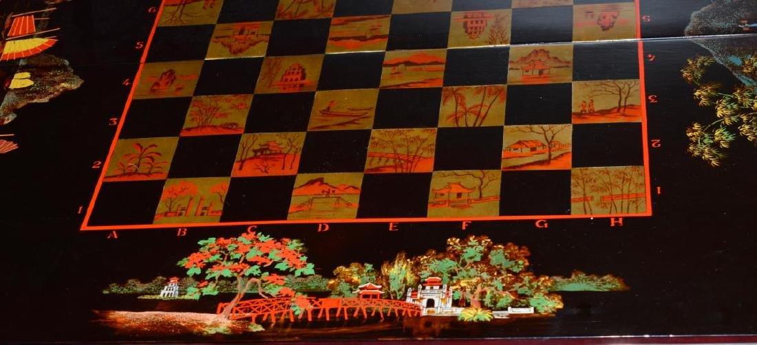 Vietnam Black Lacquered Chess/Backgammon Set - 5