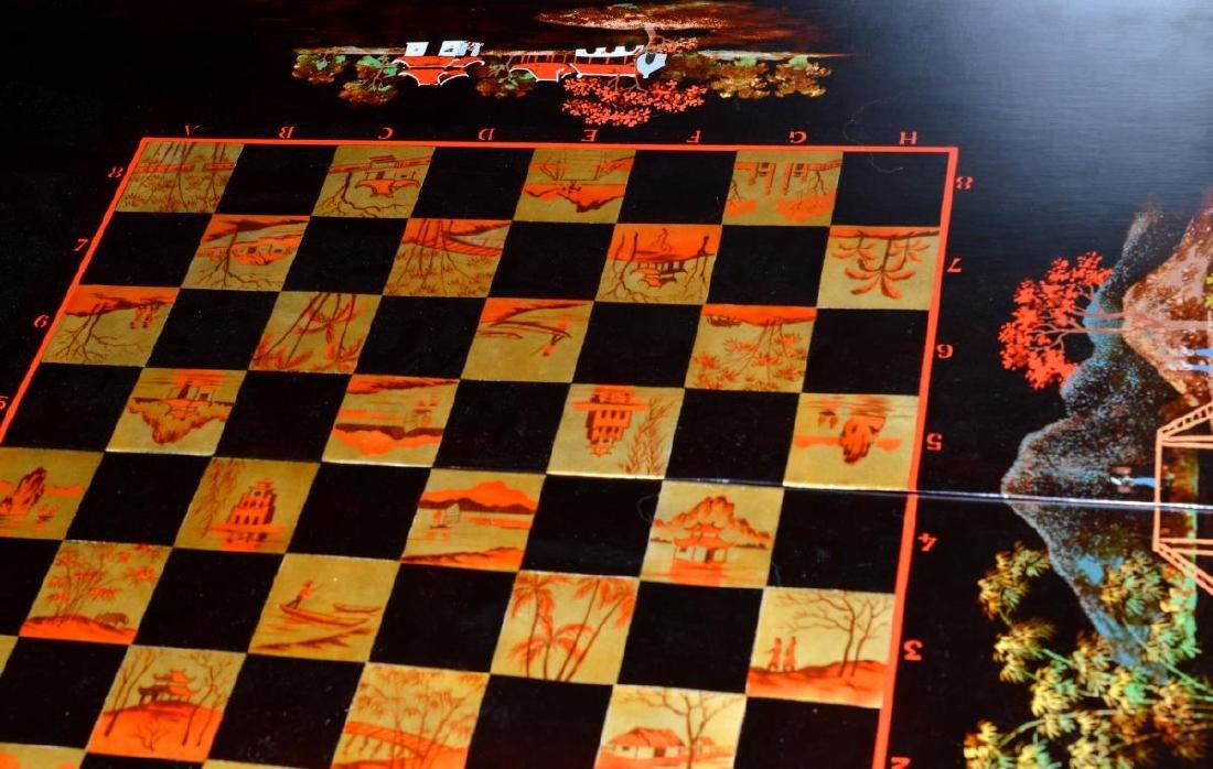 Vietnam Black Lacquered Chess/Backgammon Set - 6
