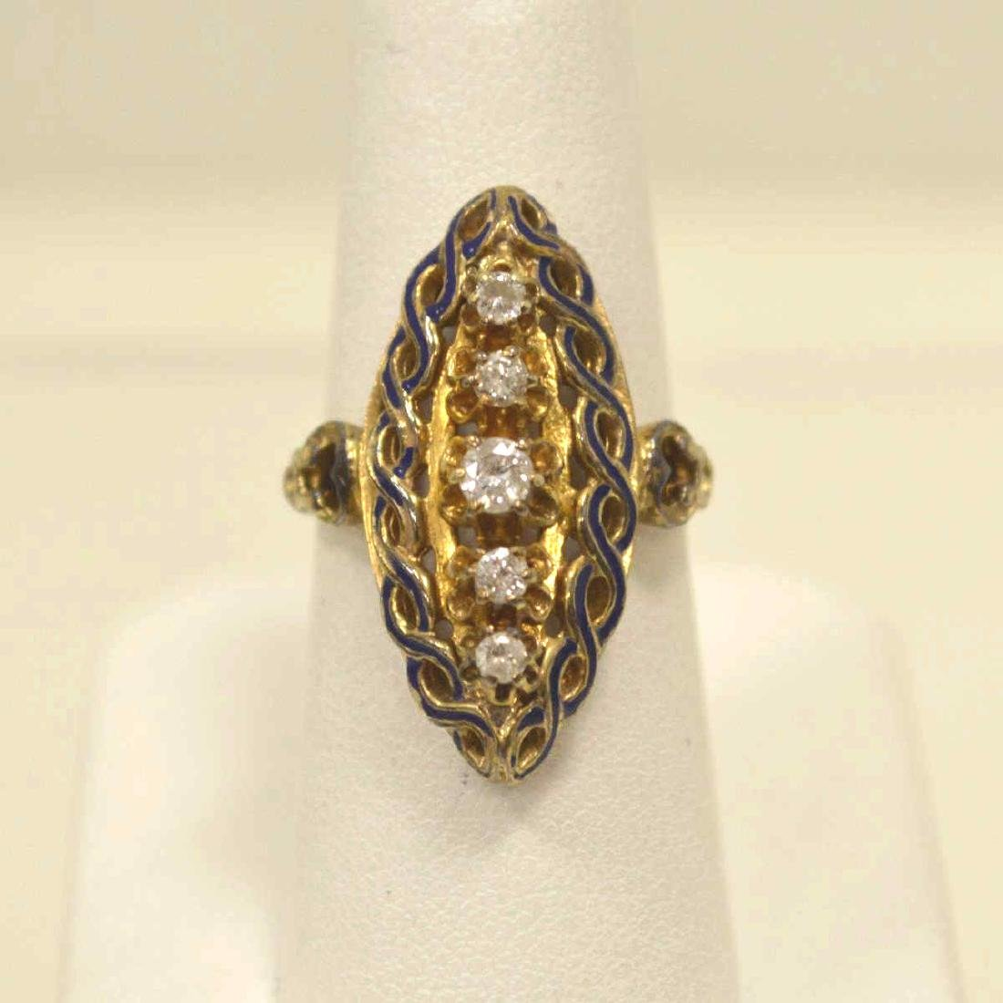 Vintage 14kt yellow gold diamond fashion ring