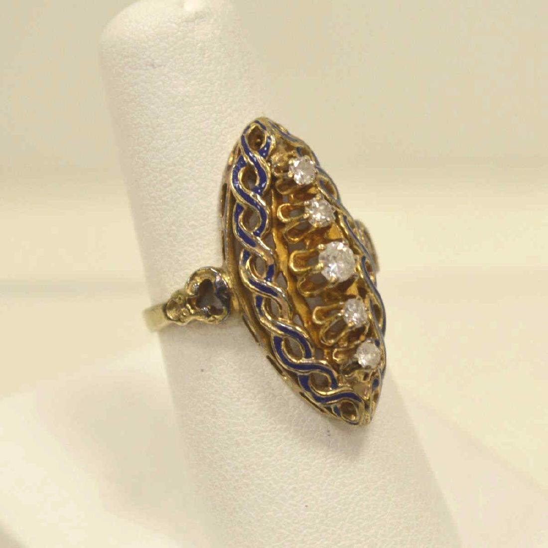 Vintage 14kt yellow gold diamond fashion ring - 2