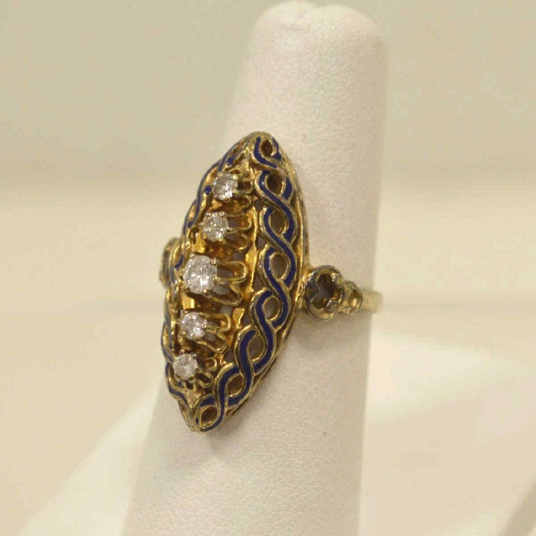 Vintage 14kt yellow gold diamond fashion ring - 3