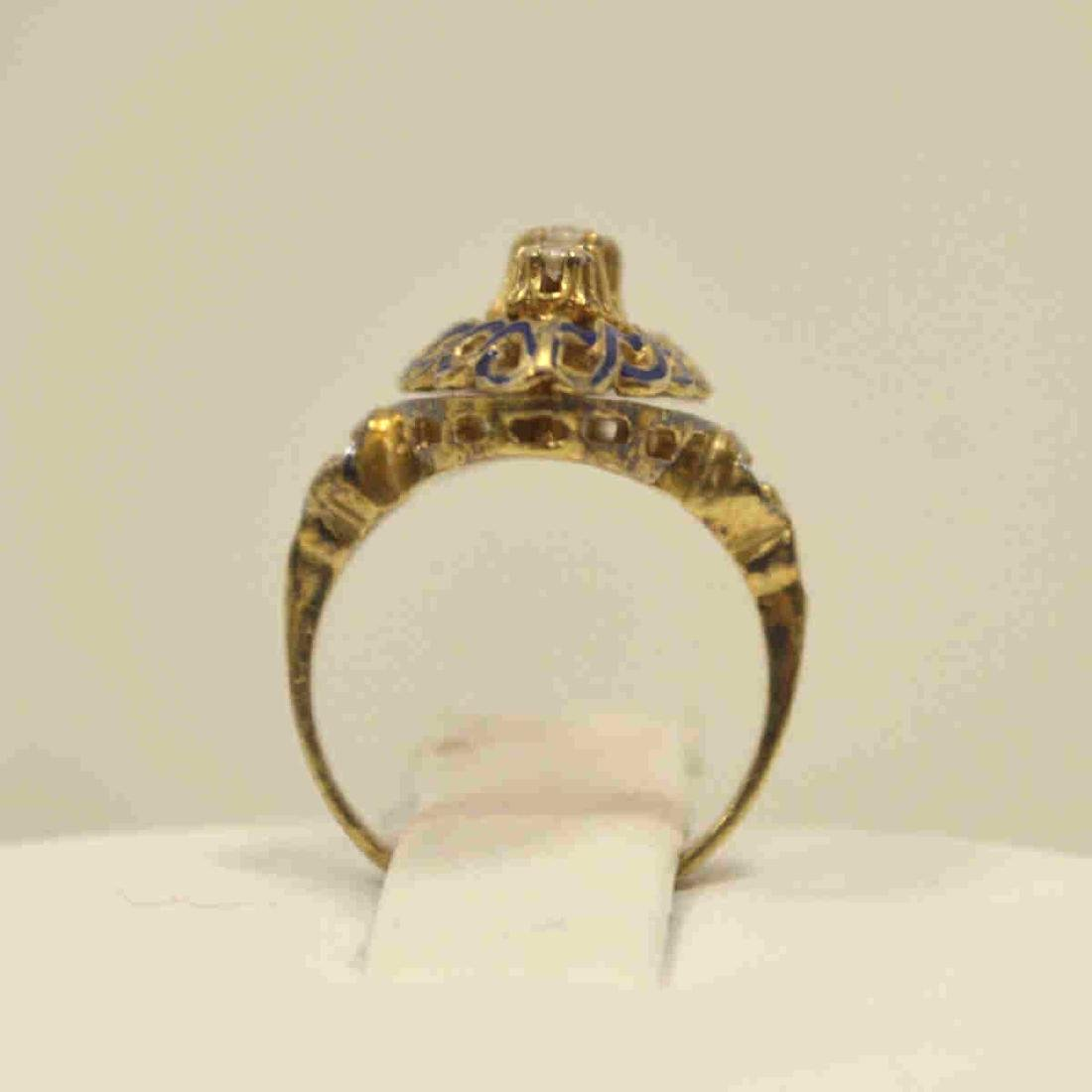Vintage 14kt yellow gold diamond fashion ring - 4