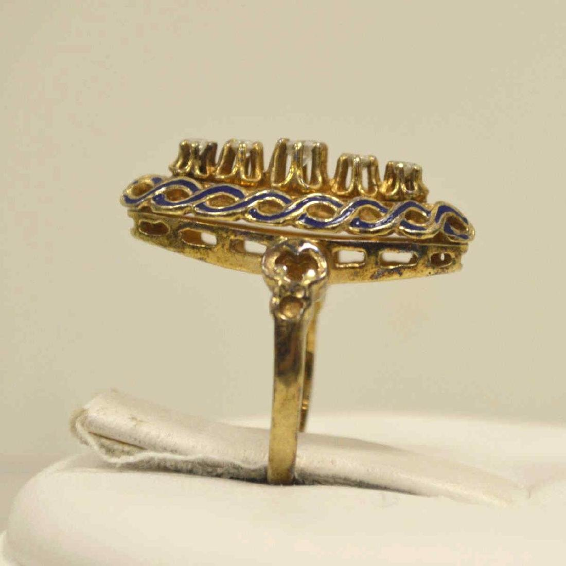 Vintage 14kt yellow gold diamond fashion ring - 5