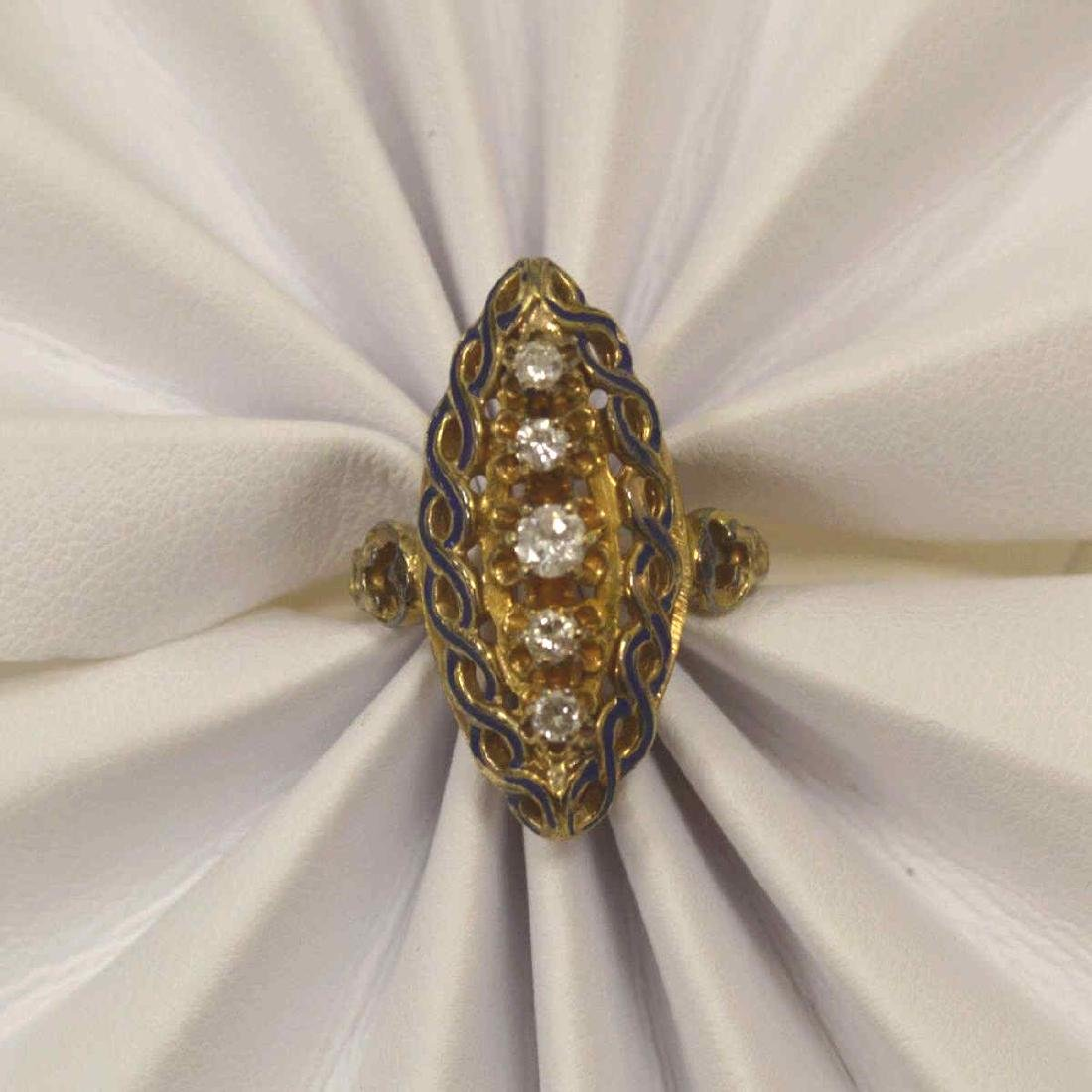 Vintage 14kt yellow gold diamond fashion ring - 6