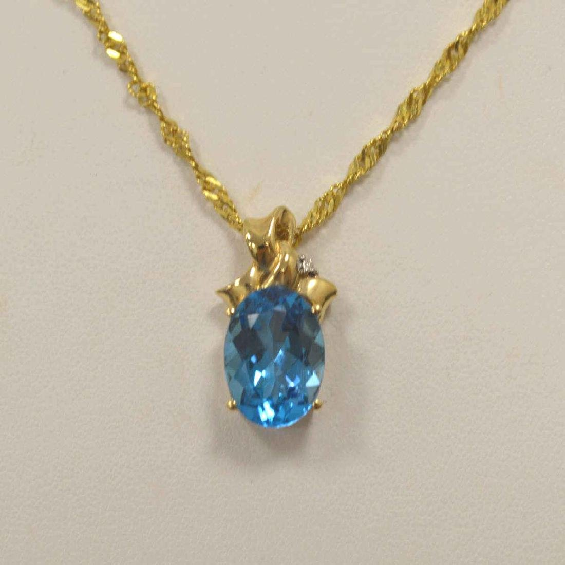 14kt yellow gold blue topaz necklace - 2