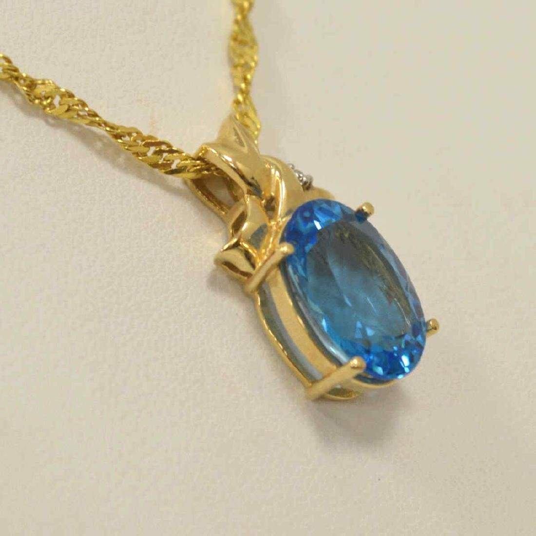 14kt yellow gold blue topaz necklace - 3
