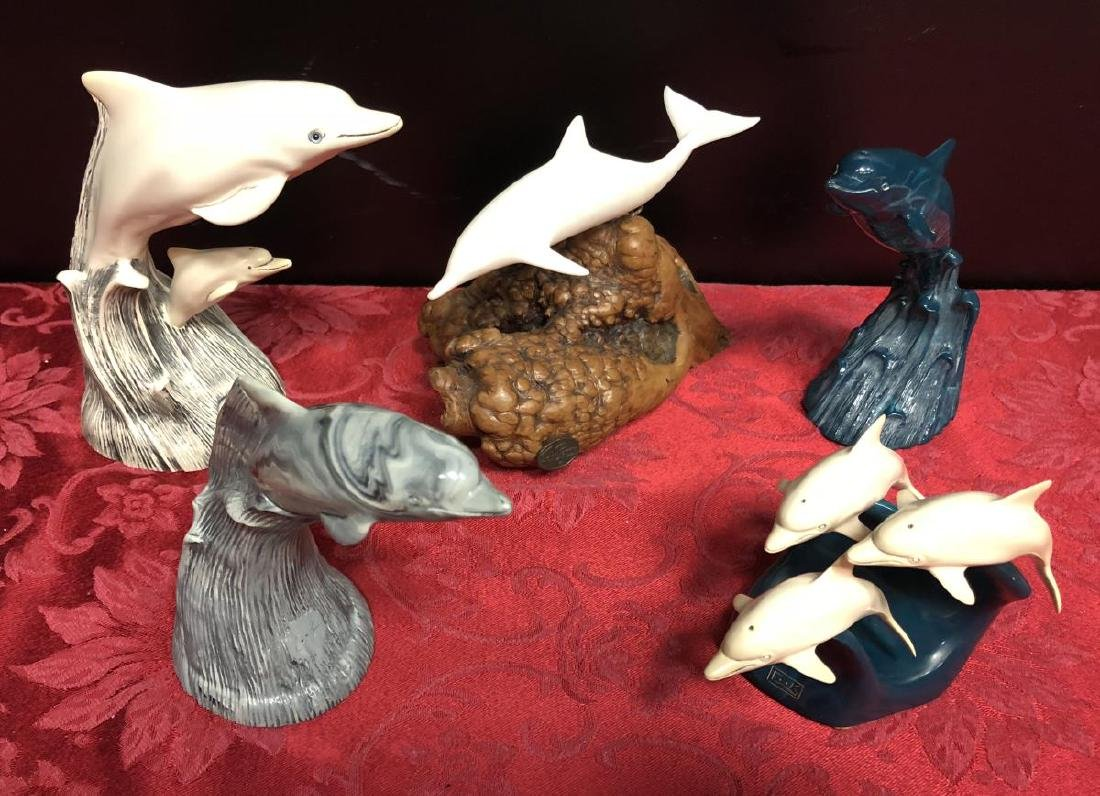 Lot of 5 Dolphin Figurines by Cook & John Perry
