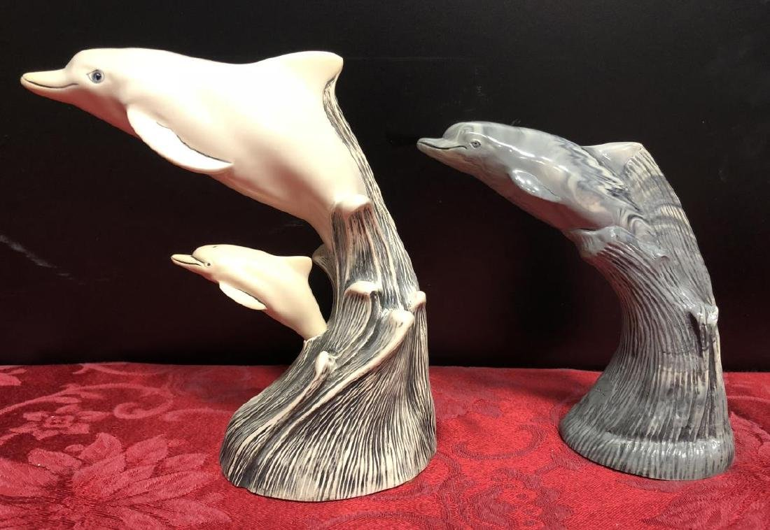 Lot of 5 Dolphin Figurines by Cook & John Perry - 3
