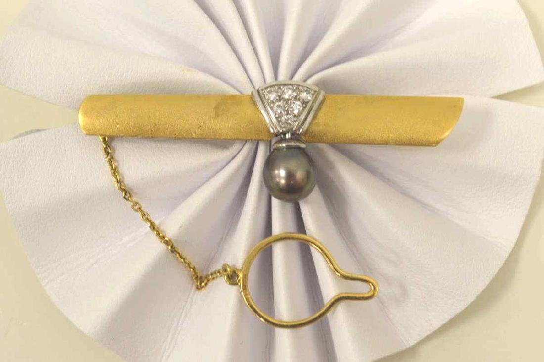 18kt two tone diamond and pearl tie bar