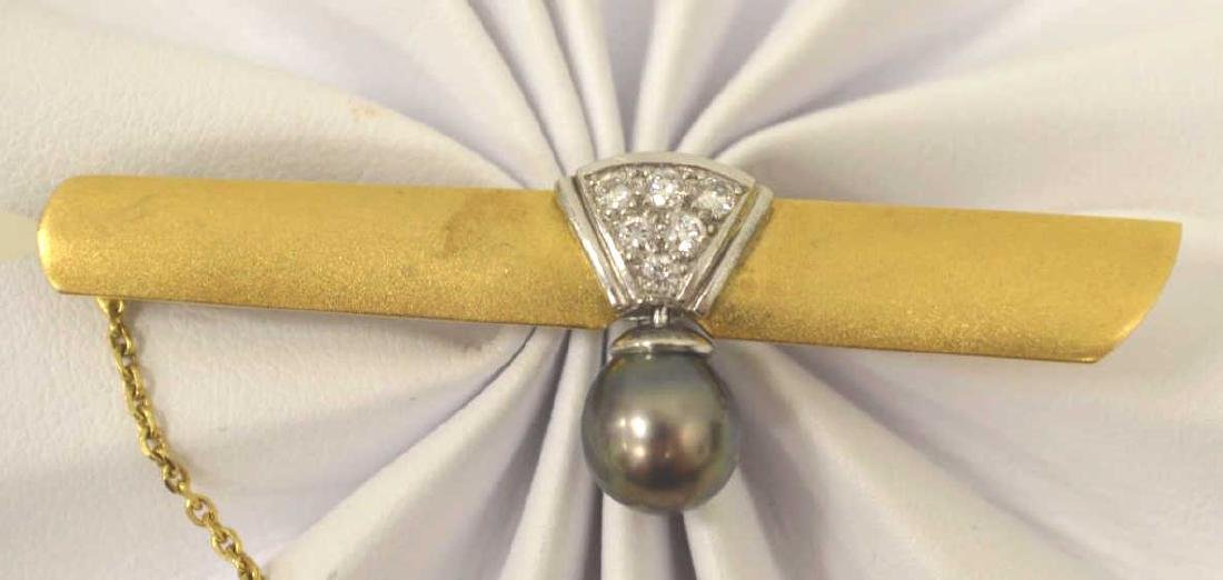 18kt two tone diamond and pearl tie bar - 2