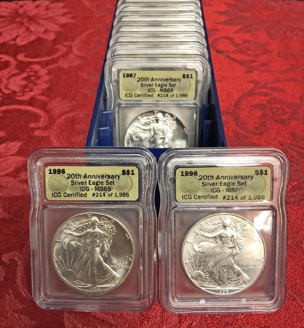 1986-2005 Silver Eagle 20th Anniv. Set ICG MS69