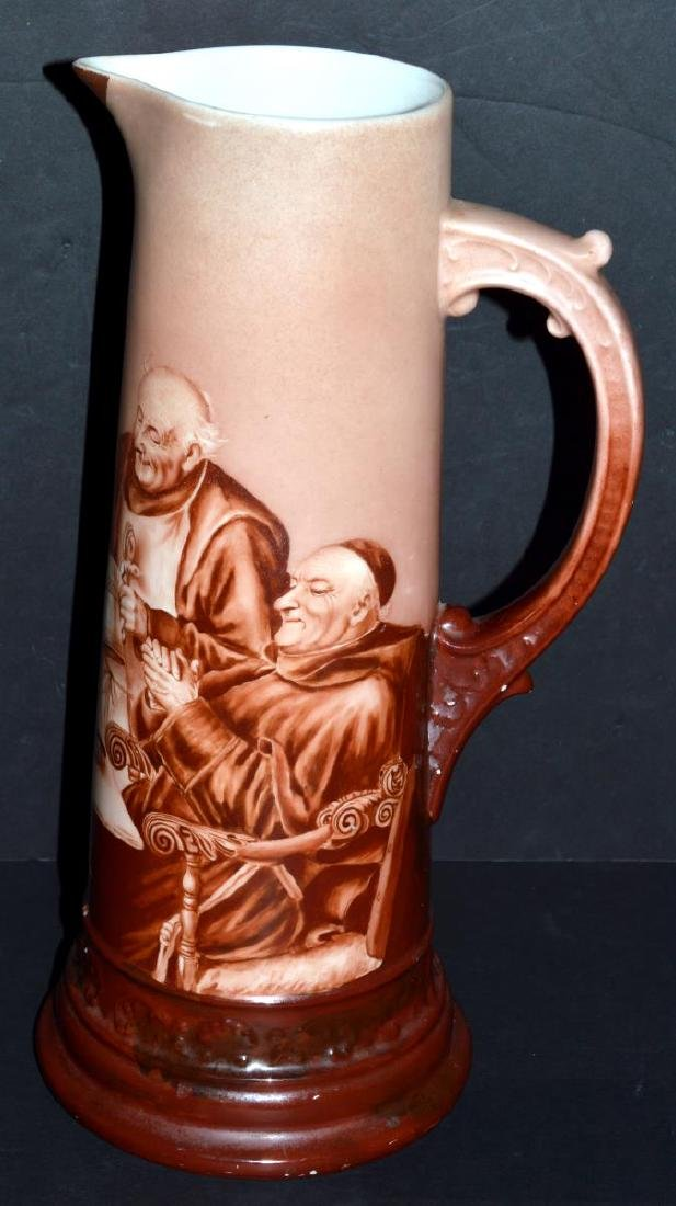 French Limoges Monks/Friars/Priest Tankard Pitcher - 2