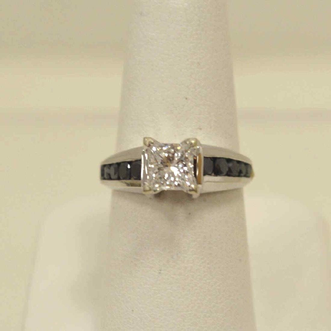 14kt black and white diamond engagement ring