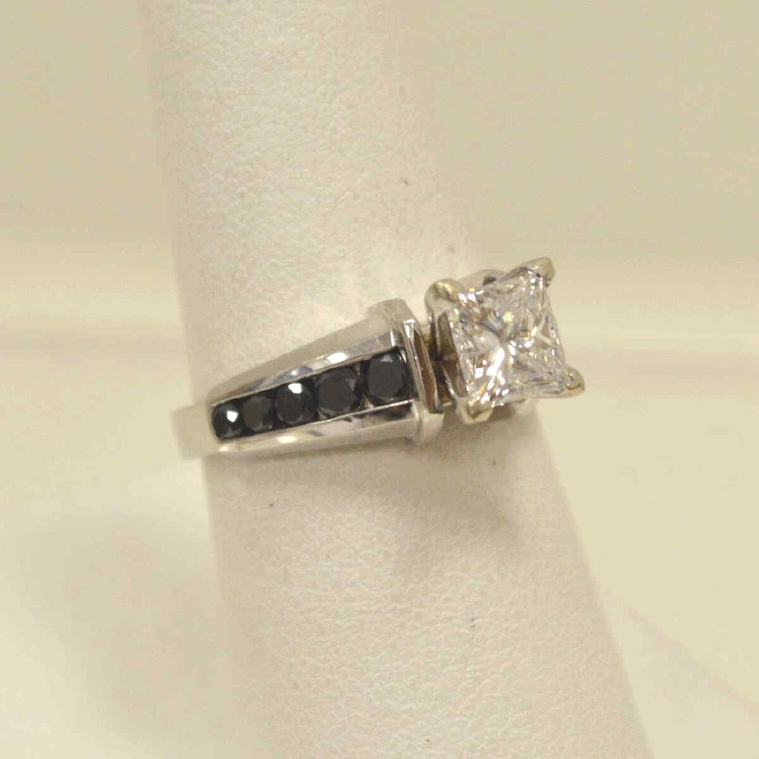14kt black and white diamond engagement ring - 2