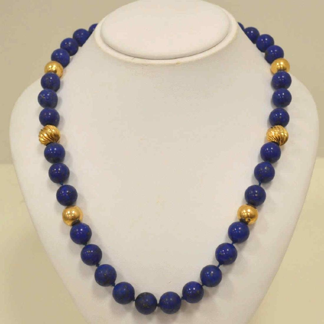 "22"" Lapis bead necklace"