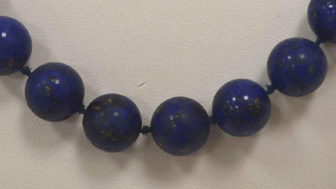 "22"" Lapis bead necklace - 2"