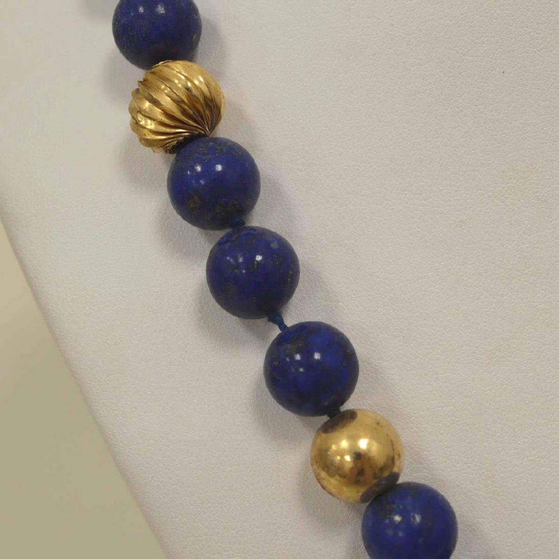 "22"" Lapis bead necklace - 3"