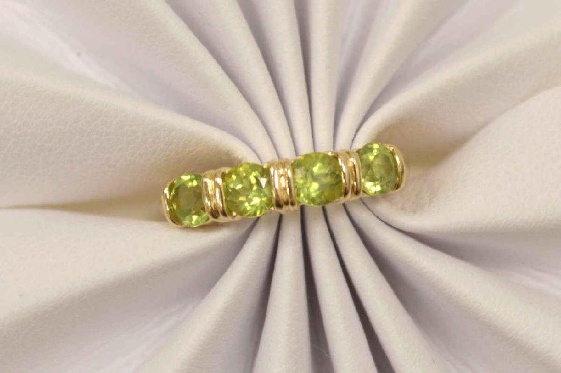 14kt yellow gold peridot fashion band - 5