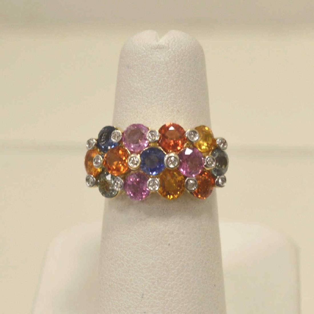 14kt yellow gold multi-color sapphire ring