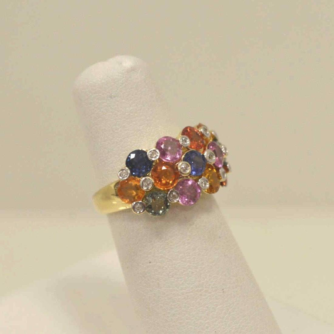 14kt yellow gold multi-color sapphire ring - 2