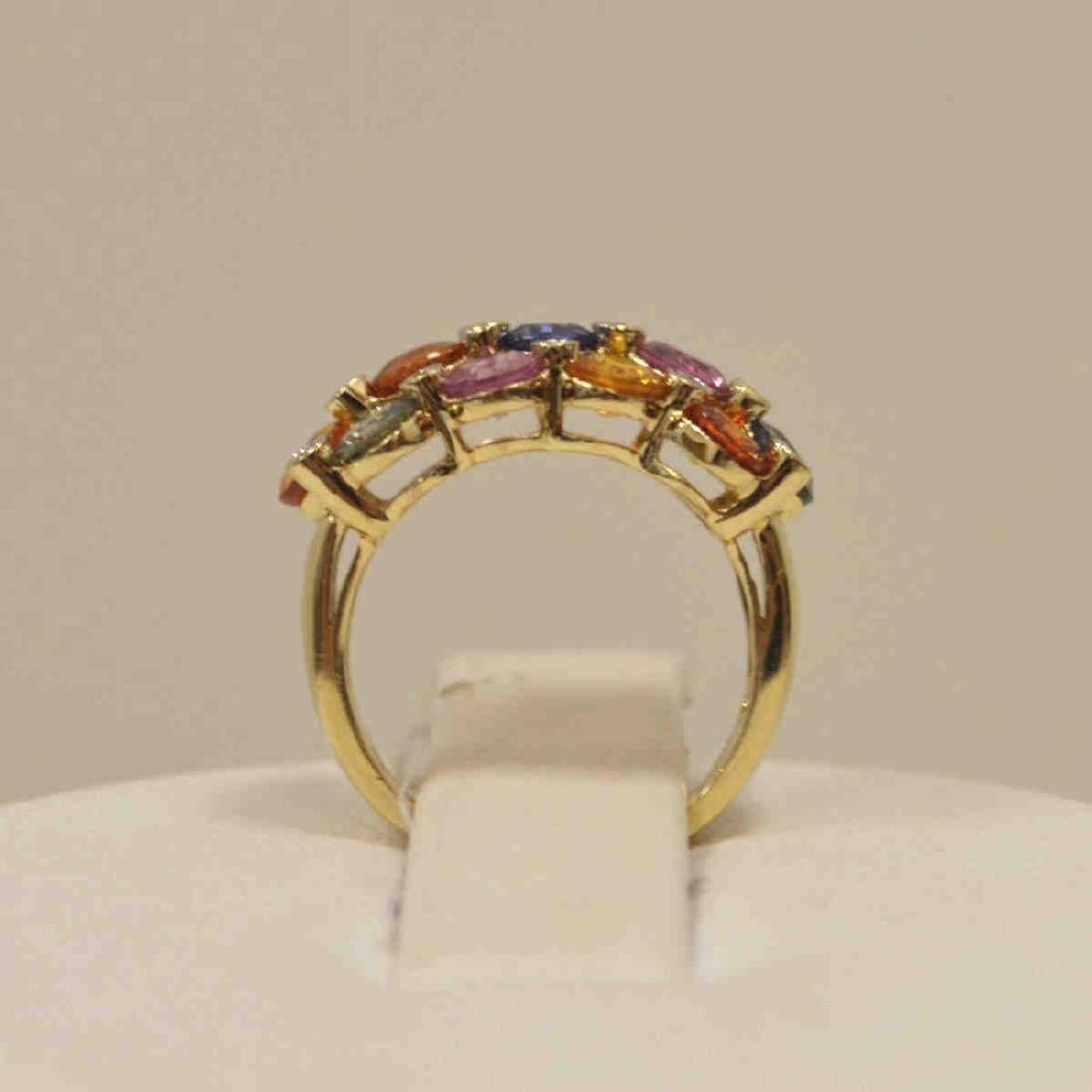 14kt yellow gold multi-color sapphire ring - 3
