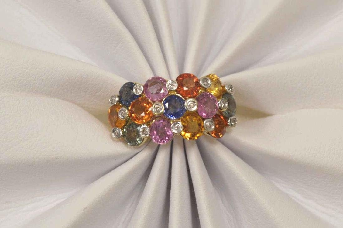 14kt yellow gold multi-color sapphire ring - 5