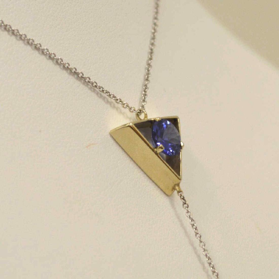 14kt white gold Tanzanite pendant - 3