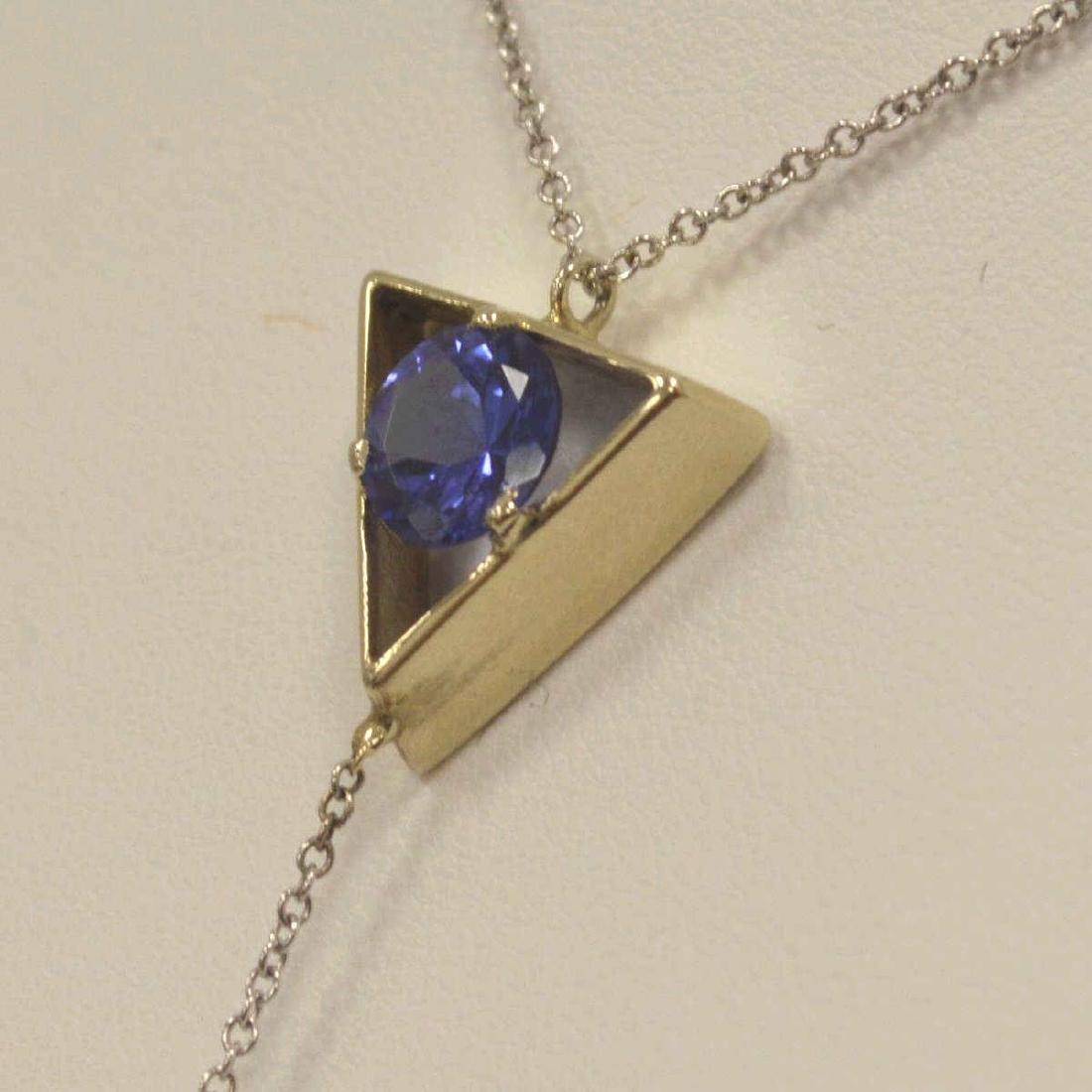 14kt white gold Tanzanite pendant - 4