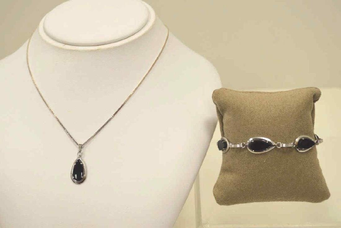 Sterling silver onyx necklace and bracelet