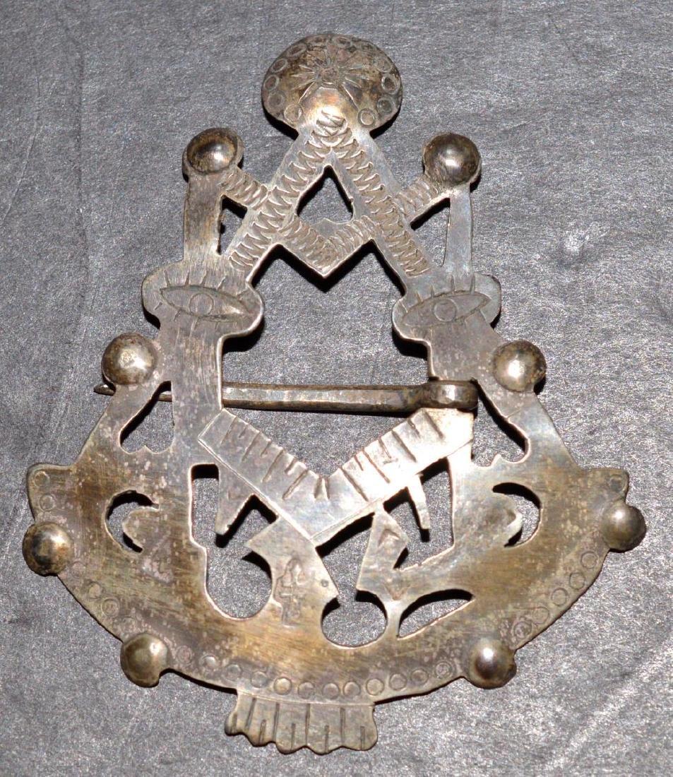 Council Fire Native American Trade Silver Brooch - 2