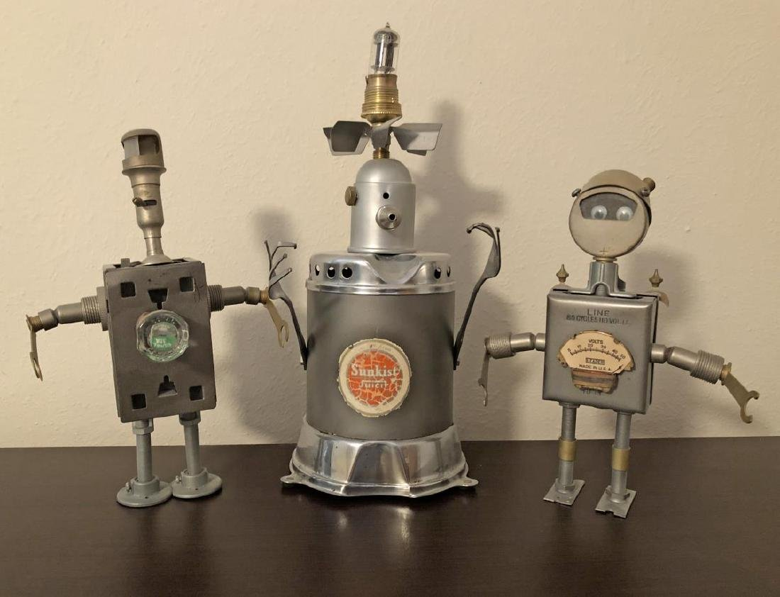 Robot Style Steam Punk Art Metal Sculpture Trio