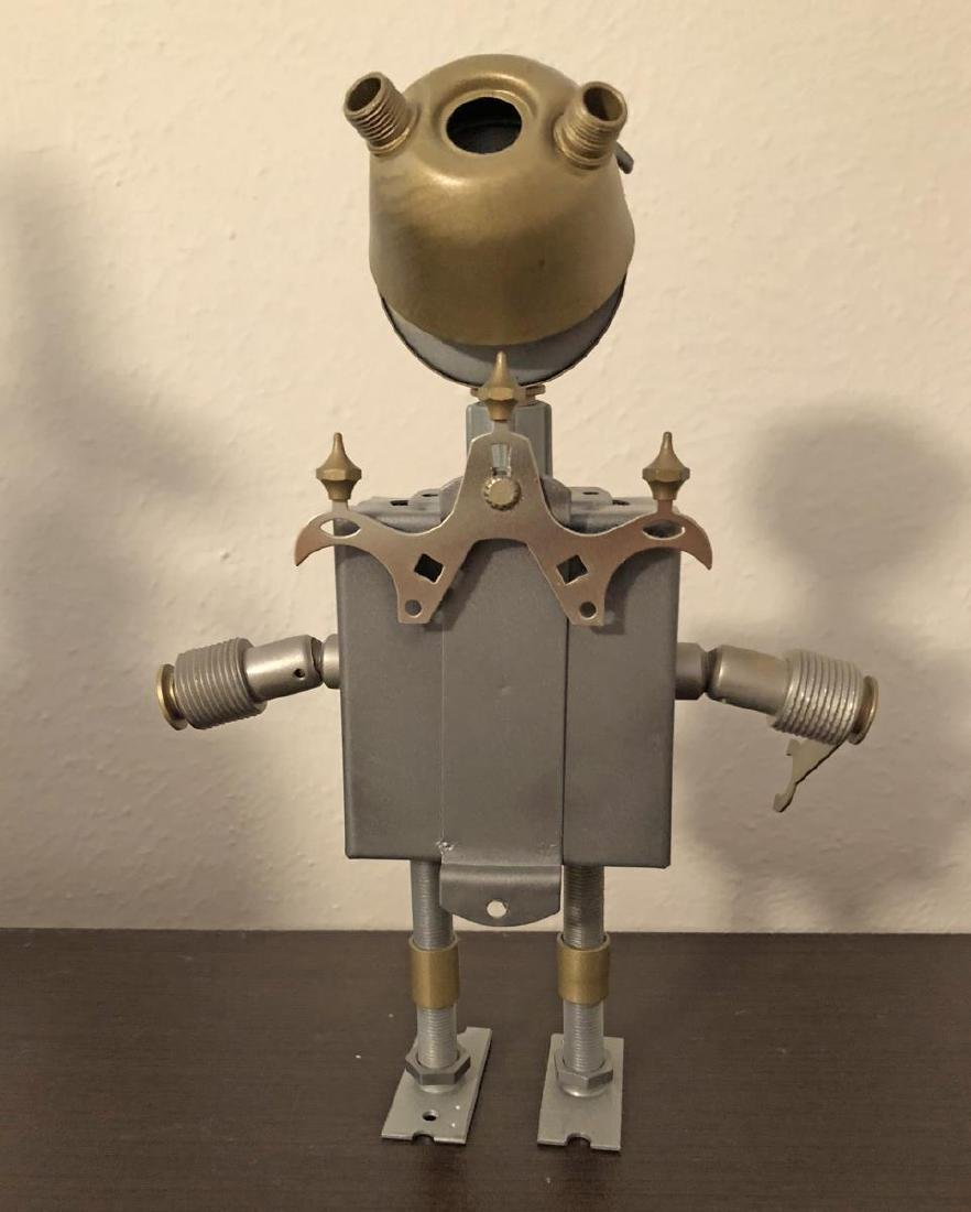 Robot Style Steam Punk Art Metal Sculpture Trio - 7
