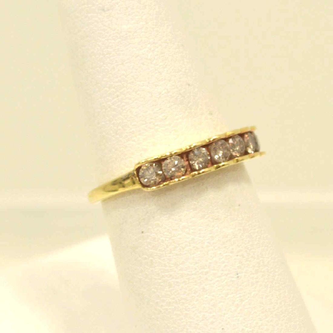 10kt yellow gold diamond band - 2