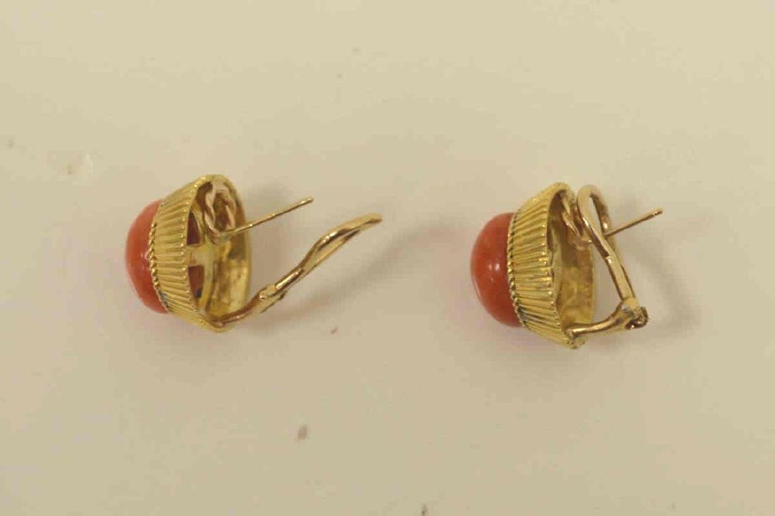 18kt yellow gold coral earrings - 3