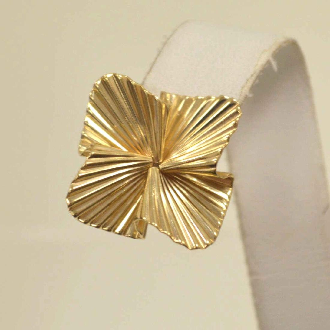 14kt yellow gold fluted ribbon earrings by Tiffany - 2