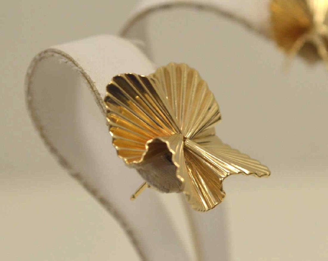 14kt yellow gold fluted ribbon earrings by Tiffany - 3