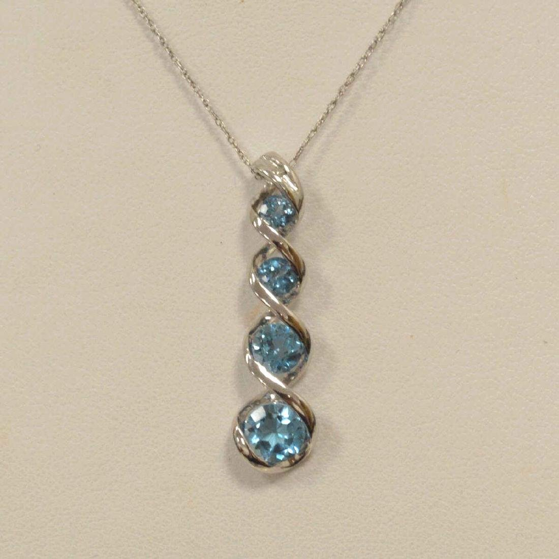 10kt white gold blue topaz necklace - 2