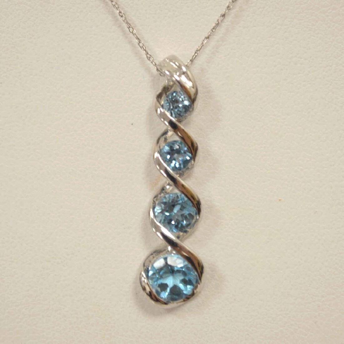 10kt white gold blue topaz necklace - 3