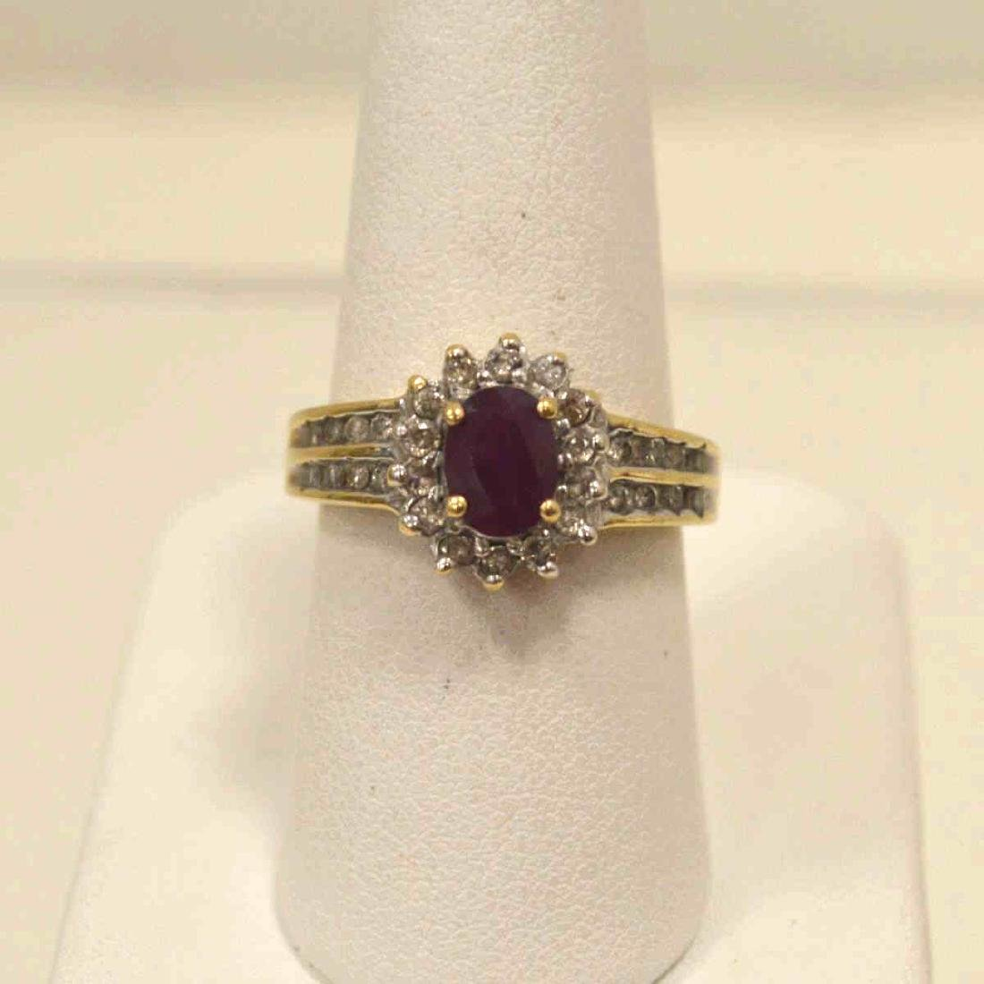 10kt yellow gold ruby and diamond ring